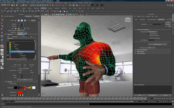 Image demonstrating new skinning tools and workflows in Maya 2011