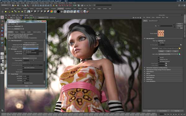 Image showing new colour management features of Maya 2011