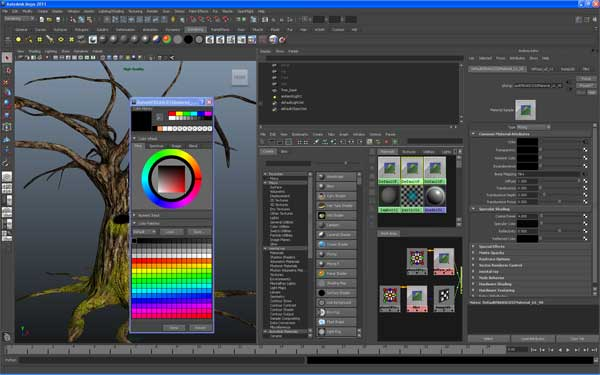 Image showing new interface features of Maya 2011