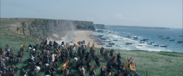 One of MPC's main challenges was to create the invading French Armada and the ensuing battle with the English army. A CG fleet of 200 ships and 6000 soldiers were added to the 8 practical boats and 500 extras used in principal photography