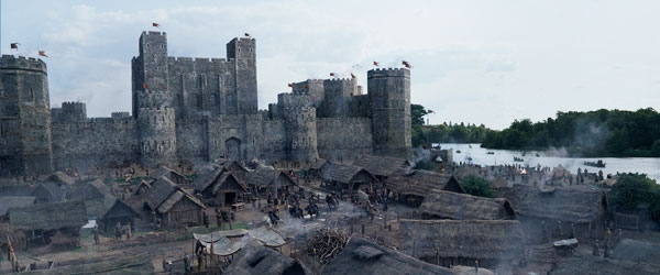 combination of matte painting and CG projections were used to recreate the medieval city, which featured the Tower of London and included the original St. Paul's Cathedral and old London Bridge under construction, in the city beyond.