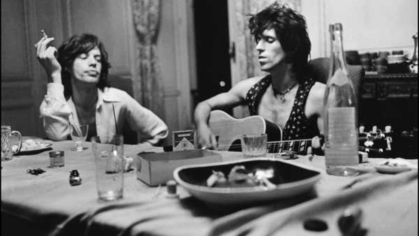Mick Jagger and Keith Richards in a scene from 'Stones in Exile'