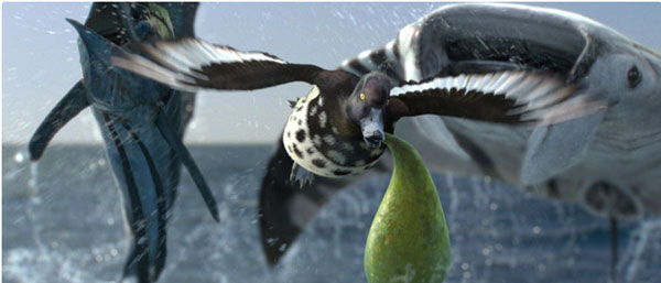 Still from Cadbury's Spots V Stripes. CGI creatures by MPC