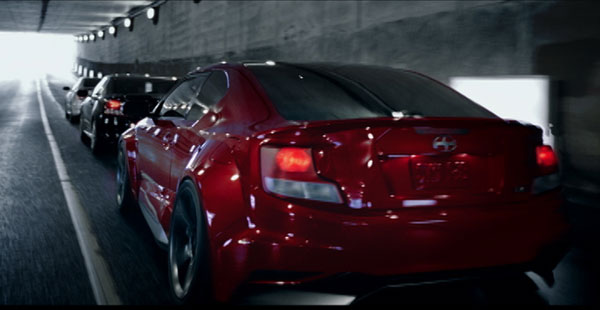 Frame from Scion tC Enter the Machine campaign TV spot. Image courtesy of ATTIK.