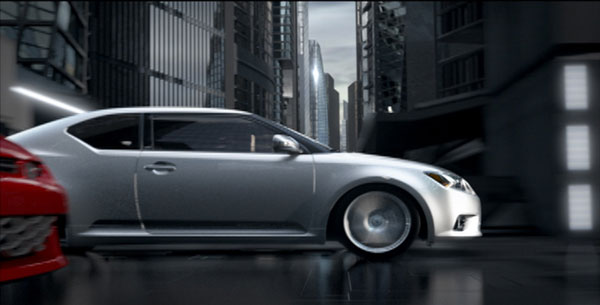Frame from Scion tC Enter the Machine campaign TV spot.