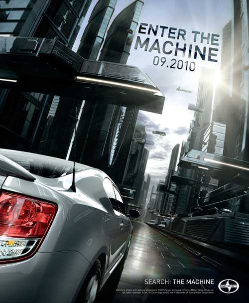Print ad from Scion tC Enter the Machine campaign. Image courtesy of ATTIK.