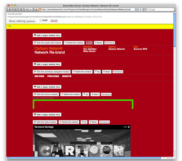 Screenshot from www.BrandNewSchool.com showing editing mode.