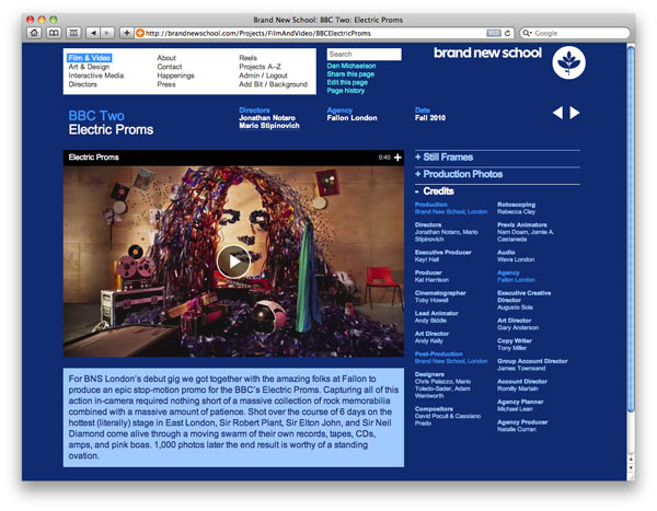 Screenshot from www.BrandNewSchool.com showing custom background.