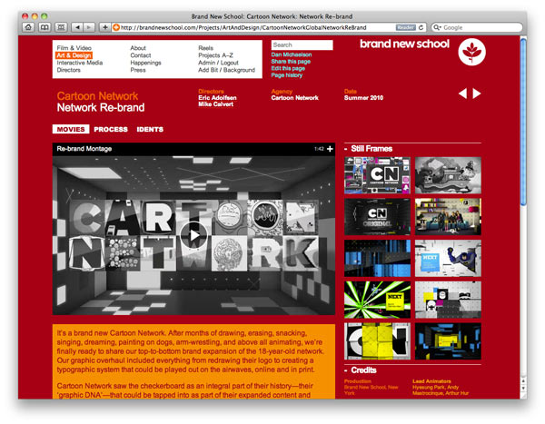 Screenshot from www.BrandNewSchool.com showing project movie.