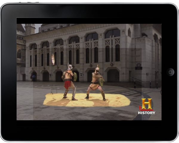 Roman gladiators fight in Guildhall Yard © HISTORY™