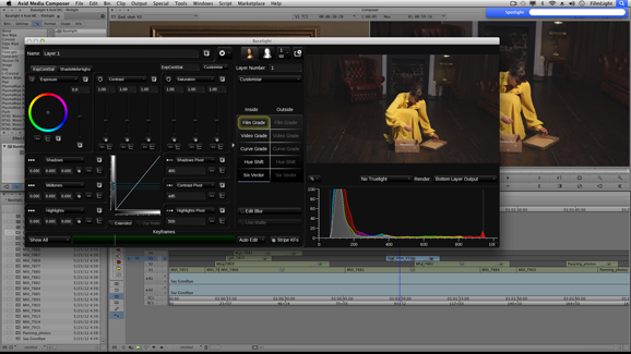 Baselight User Interface showing the Floating Window Mode