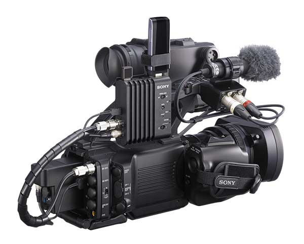 Wireless adaptor CBK WA100 attached to a Sony PMW300