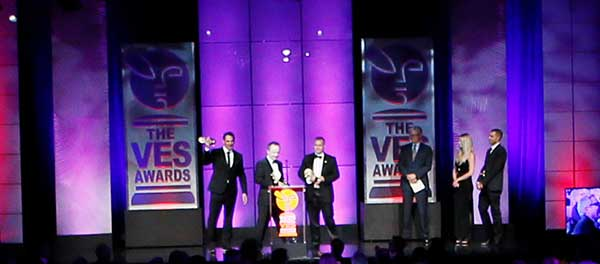 """The winning team from """"Gravity"""" accepts the Outstanding Visual Effects in a Visual Effects-Driven Feature Motion Picture award during the 12th annual VES Awards"""