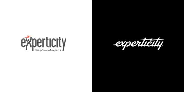 Left: Earlier Experticity logo. Right: New Experticity logo.