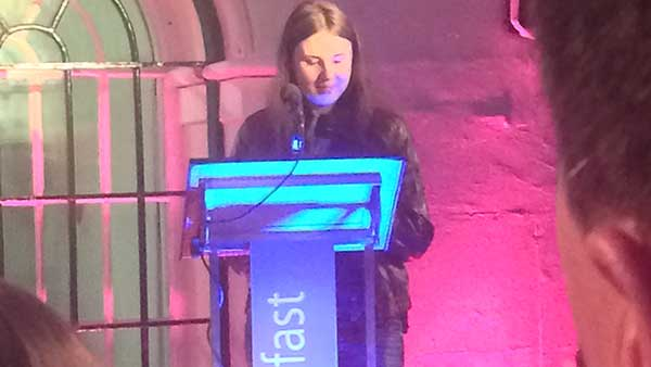 Nvizible Belfast Studio Head Victoria Farley, speaking at the opening party