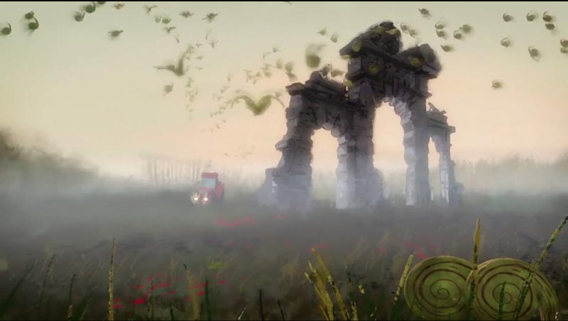 Aardman combined 2D illustrations and 3D CG animation techniques to create a hybrid effect, bringing to life the bold landscapes and muted palettes of war artists from the era