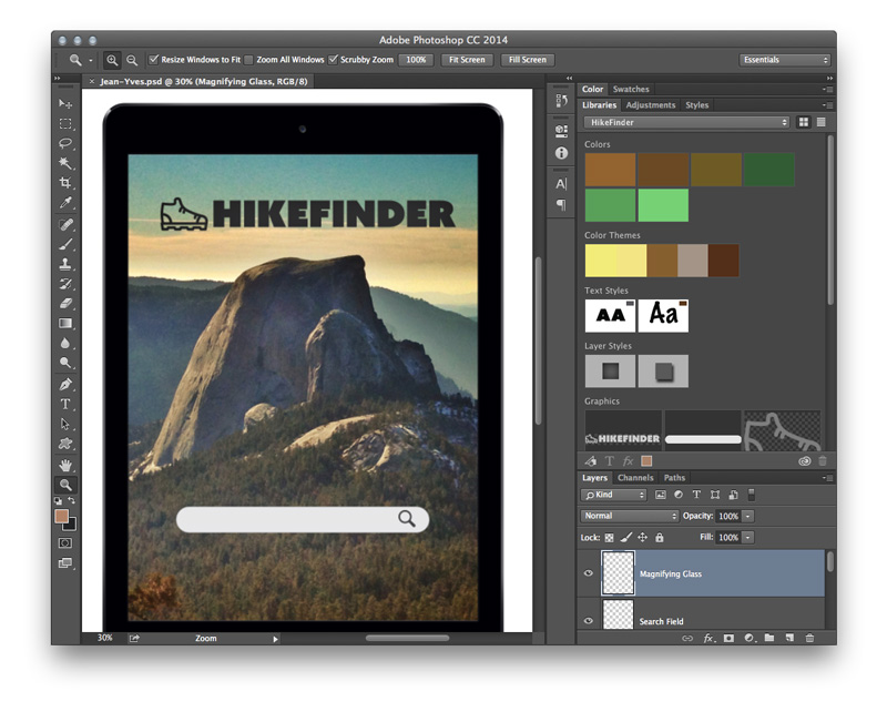 Creative Cloud Libraries in use in Photoshop CC