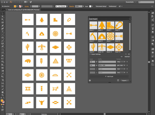 Fast export of assets and artboards in Illustrator CC