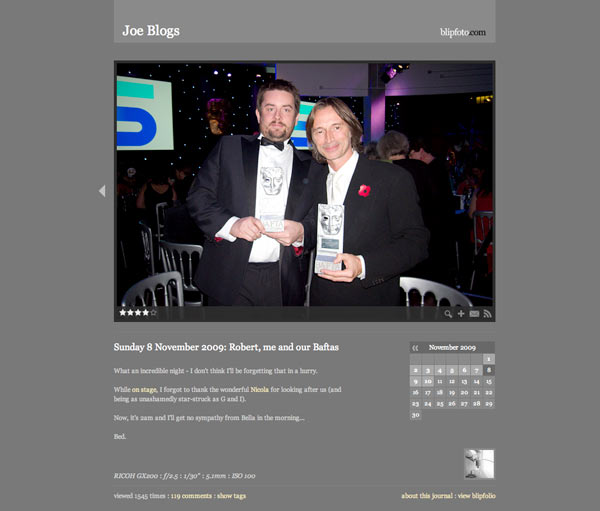Blipfoto founder Joe Tree's own journal entry on the night of the awards